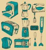 set hjälpmedel för matlagningkök stock illustrationer