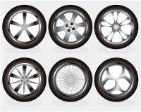set hjul för bil stock illustrationer