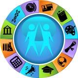 set hjul för knapputbildning Fotografering för Bildbyråer