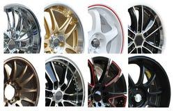 set hjul för legeringsbil Arkivbilder