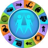 set hjul för webbläsaresäkerhet stock illustrationer