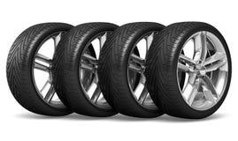 set hjul för bil Arkivfoton