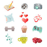 Set of hobby icons showing pastime activities Royalty Free Stock Photography