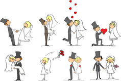 Set Hochzeitsabbildungen Stockfotos