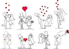 Set Hochzeitsabbildungen Lizenzfreies Stockfoto