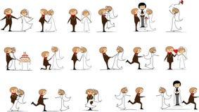 Set Hochzeitsabbildungen Stockfotografie