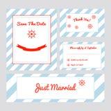 Set Hochzeitskarten stockfotos