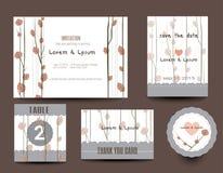 Set Hochzeitskarten Hochzeitseinladungen, danke zu kardieren lizenzfreie abbildung