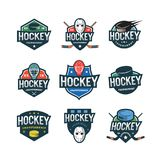 Set of hockey logos. sport emblems vector illustration. Set of hockey logos. sport emblems, badges, design elements, logotype templates. vector illustration Royalty Free Stock Images
