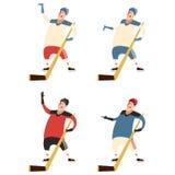 Set of hockey players Royalty Free Stock Photo
