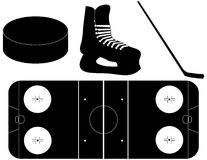 Set of Hockey Silhouettes Stock Photography