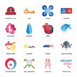 Set of hockey stick, long hair, heating cooling, railway, confectionery, boxer, yoga studio, drones, motorcycle club icons. Set Of 16 simple  icons such as Stock Photography