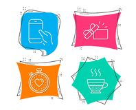Hold smartphone, Opened gift and Heartbeat timer icons. Cafe creme sign. Set of Hold smartphone, Opened gift and Heartbeat timer icons. Cafe creme sign. Phone vector illustration