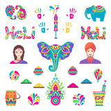 Set of Holi flat elements in indian style Royalty Free Stock Photography