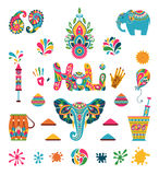 Set of Holi flat elements in indian style Royalty Free Stock Photos