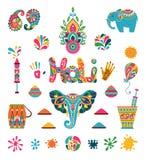Set of Holi flat elements in indian style royalty free illustration