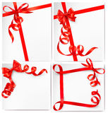 Set of holiday background with red gift bows Stock Image
