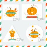 Set of Holiday backgrounds ans stamps with pumpkins, turkey and sparrow. Set of Holiday backgrounds ans stamps with pumpkins, turkey and sparrow for Stock Photography