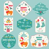 Set of Holiday badges and tags with cute dogs Stock Photography
