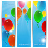 Set of holiday banners for birthday. With colorful balloons and place for your text Stock Photography