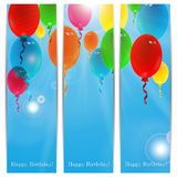 Set of holiday banners for birthday. With colorful balloons and place for your text Stock Photos