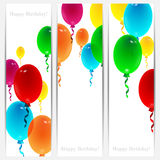 Set of holiday banners for birthday. With colorful balloons and place for your text Royalty Free Stock Photos