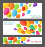 Set of holiday banners with colorful balloons Royalty Free Stock Images
