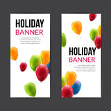 Set Holiday banners with colorful balloons. Vector illustration.  Stock Image