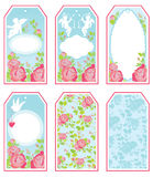 Set of holiday banners and labels in pink and blue colors with w Stock Photos