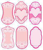 Set of holiday banners and labels in pink colors with white lace Royalty Free Stock Image