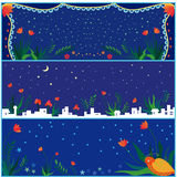 Set of holiday banners. Three set of holiday banners , Chinese traditional blue style Stock Photography