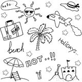 Set of holiday beach doodle Royalty Free Stock Photo