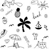 Set holiday in beach doodle Stock Photos