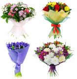 Set of holiday bouquets of fresh flowers. On a white background Stock Image