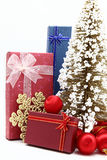 Set of holiday boxes with christmas tree Stock Photo