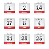 Set Holiday Calendar Icons Royalty Free Stock Images