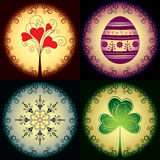 Set of holiday cards. For Christmas, Easter, Patrick day and Valentine day royalty free illustration