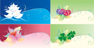 Set of holiday cards. For Christmas, Easter, Patrick day and Valentine day Royalty Free Stock Image