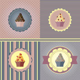 Set of holiday cards. With cupcakes in soft pastel colors in retro style Stock Photography