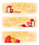 Set of holiday christmas banners with gift boxes a Stock Photos