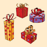 Set of holiday Christmas boxes with gifts. Pop art retro comic book vector illustration. Beautiful packaging with ribbons Royalty Free Stock Photo