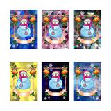 Set of holiday christmas cards with funny snowman on a colorful mosaic background. Copy space. Can be used as a greeting ecard for social networks. Vector clip Vector Illustration