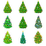 Set of holiday decorated christmas tree  for celebrate xmass with ball gold bells candles stars lights candy and Royalty Free Stock Images