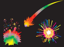 Set of holiday fireworks. With burst comet ball, explosions and stars, vector illustration Royalty Free Stock Photos