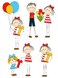 Set of holiday funny children Stock Images