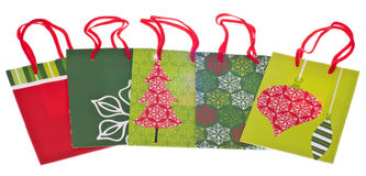 Set of Holiday Gift Bags Royalty Free Stock Image