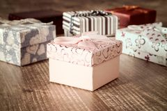 Set of holiday gifts Royalty Free Stock Photos