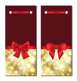 Set holiday glowing cards with gift bows Royalty Free Stock Images