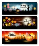 Set of Holiday Halloween banners with pumpkins vector illustration