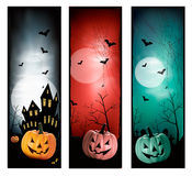 Set of holiday Halloween banners. Stock Photography